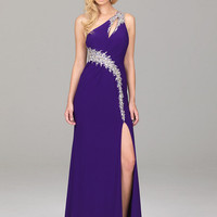 Buy Alluring Sheath/Column One-shoulder Sequins Floor Length Elastic Woven Satin Evening Dress  under 200-SinoAnt.com