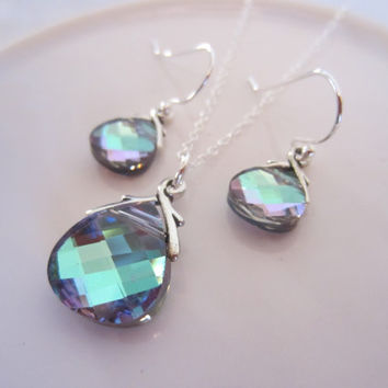 Bridesmaids Swarovski Necklace and Earring Set in Vitrail Light-Bridal Party-Jewelry Set