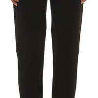 Leather-Trim Stretch-Flannel Trousers