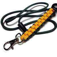 Mens Paracord Lanyard Green and Gold Military Grade Cord Breakaway Clasp Handmade USA Customize Sports 550 Paracord