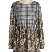 ModCloth Darling Short Long Sleeve A-line Expressive Indeed Dress