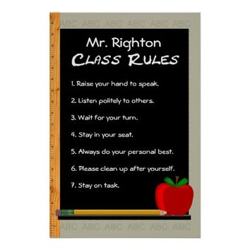 24 x 36 Class Rules Customizable Poster