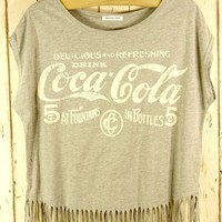Grey Fringe Tee with Retro Coca Cola Graphic Print