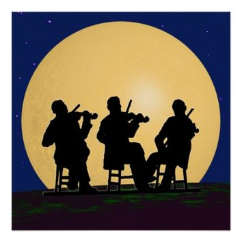 Fiddlers Playing at Night Huge Moon