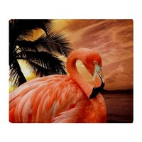 Flamingo and Sunset Throw Blanket