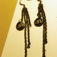 om / aum charm dangle antique bronze earrings
