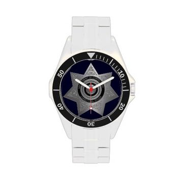 Correctional Officer Badge Silver Wrist Watch