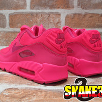 DS 2014 NIKE AIR MAX 90 2007 GS ATMOS YOUTH HYPER VIVID PINK GIRLS 345017-601