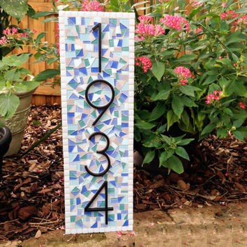Outdoor Mosaic Address Sign in Aqua Blue White