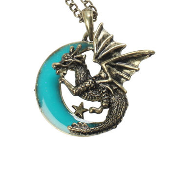 Dragon Teal Moon Necklace
