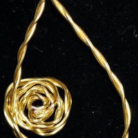 Rose Wire Wrapped Pendant Gold Rose 1 12 inch gold Any Age Unisex