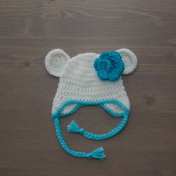 Crochet Polar Bear Hat with Flower, Baby Polar Bear Hat, Crochet Baby Hat, Crocheted Baby Hat, Newborn Photo Prop, Shower Gift, Baby Girl