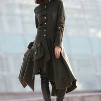 winter jacket wool women Army Green  coat-CF067