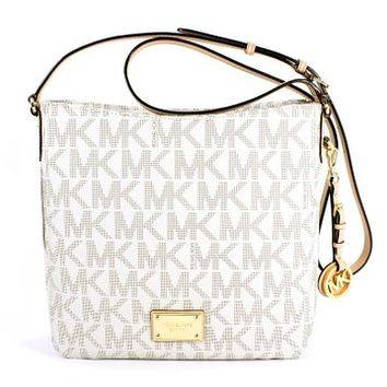 Michael Kors Signature Jet Set Vanilla Messenger Bag