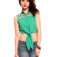 GYPSY WARRIOR - Emerald Tie Front Cage Tank