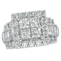 4 CT. T.W. Princess-Cut Quad Diamond Square Frame Engagement Ring in 14K White Gold