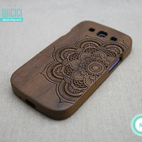 Mandala phone case - Wood Galaxy S3 case - Wooden Samsung Galaxy S3 case - Samsung S3 case - Samsung S3 wood case - Mandala - Walnut - 14033