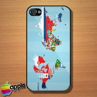 World Flag Map iPhone 4 or 4S Case