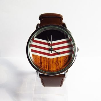 Chevron on Wood Watch, Vintage Style Leather Watch, Women Watches, Mens Watch, Unisex Watch,…