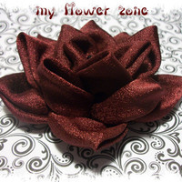 Kanzashi Flower - Burgundi Rose, Fabric Rose, Dark Red Fabric Rose, Fabric Flower (hair accessory)