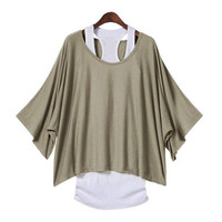 Everyday Batwing 2 Layer Top (Khaki) | Paper Kranes