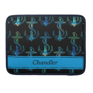 Anchor Blue Black Personalized MacBook Sleeve