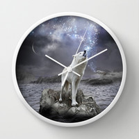 Stars Lie Hidden In Your Soul (Wolf Galaxy) Wall Clock by soaring anchor designs ⚓ | Society6