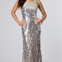 Sleeveless Silver Sequin Gown for Prom