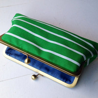 Green Striped Chambray Clutch