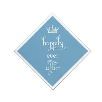 Happily Ever After Crown Blue Napkins