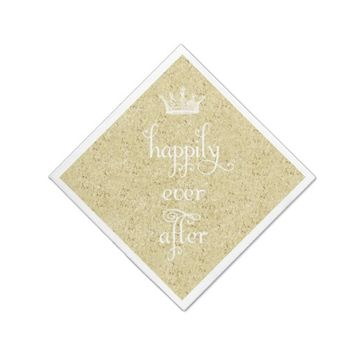 Happily Ever After Crown Gold Glitter Napkins
