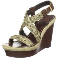 Vince Camuto Women`s Edda Wedge Sandal,Dark Brown/Gold,9.5 M US
