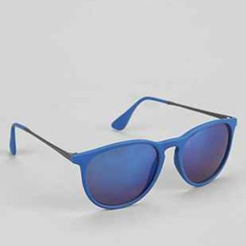 Classic Blue Flash Round Sunglasses  Urban Outfitters