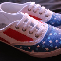 Stars and Stripes Custom American Toms, Vans, or knock-offs (with or without blue stars)