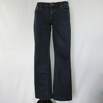 Dark rinse long and lean boot cut jeans