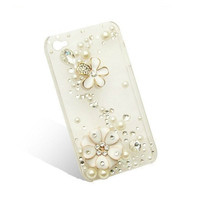 Handmade hard case for iPhone 4 & 4S: Bling pearls with cute flower (custom are welcome)