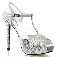 PRESTIGE-10 Rhinestone Covered Peep Toe Sandal