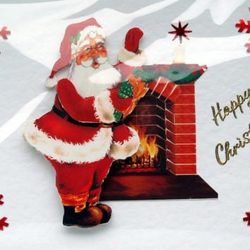 Christmas Card - Happy Christmas Hand-Crafted 3D Decoupage Card - Happy Christmas (1755)