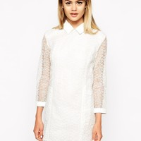 Little White Lies | Little White Lies Lace Shift Dress With Pocket & Collar Details at ASOS