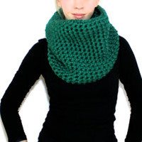 "The ""Callington"" Crochet Cowl Scarf - Forest Green - Custom Requests Accepted"