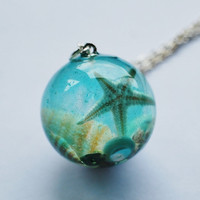 The Mermaid&#x27;s Necklace 07 Nautical Jewelry Resin Orb Starfish Tiny Seashells Pearl Aqua Specimen Necklace Fairy Tale Fantasy Unique Handmade