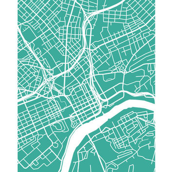 Knoxville Map Print  Tennessee Poster Art