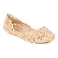 Qupid BA35 Women Jelly Bird Nest Mesh Ballet Sandal Flat - Nude