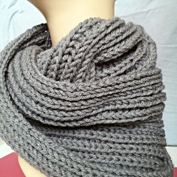 FREE SHIPPING*** Chunky Infinity Scarf, Hand Knitted Winter Scarf