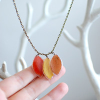 Pressed leaf Autumn Fall resin necklace -real leaf jewelry yellow, red, brown trio -nature inspired jewelry, gift for a woman, gift under 35
