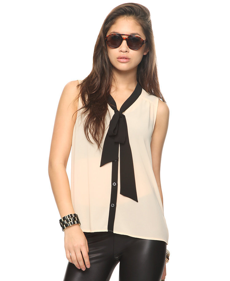 Sheer Tie Neck Shirt | FOREVER21 - 2000043167