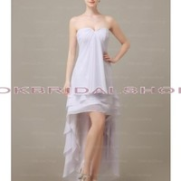 white prom dresses, hi-lo prom dresses, chiffon prom dress, long prom dresses, cheap prom dress, prom dress bridesmaid, simple prom dress