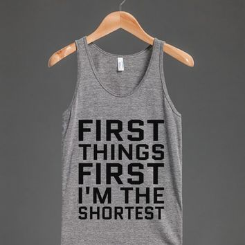 FIRST THINGS FIRST I'M THE SHORTEST TANK TOP BLK ID921553