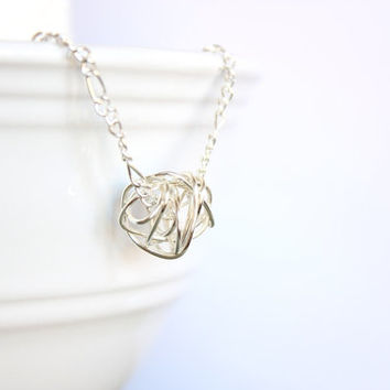 Love Knot Necklace - Silver Knot jewelry - Simple Silver Jewelry - Wire Wrapped Jewelry Dainty Jewelry