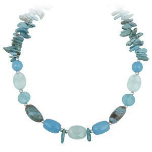 "Sterling Silver Blue Genuine Multi-Stone Necklace, 16+3"" Extender"